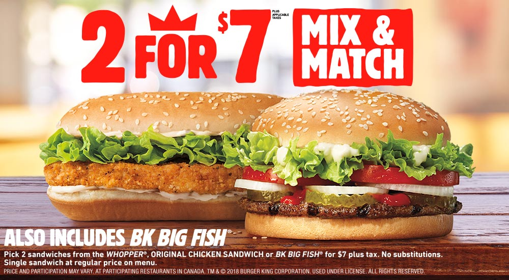 burger king get fresh offers 2 for 5