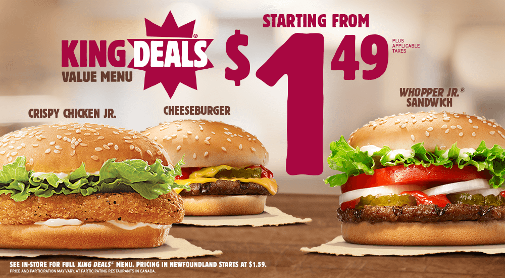 Watch video · About Burger King $ King's Meal Deal TV Commercial, 'Pick Any Two' Burger King's $ King's Meal Deal includes two sandwiches, fries and a drink.
